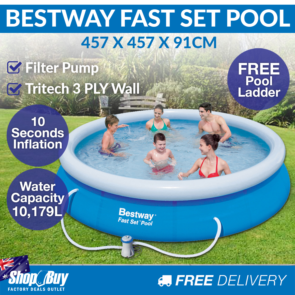 15ft Inflatable Portable Above Ground Swimming Pool Round Filter Pump Blue