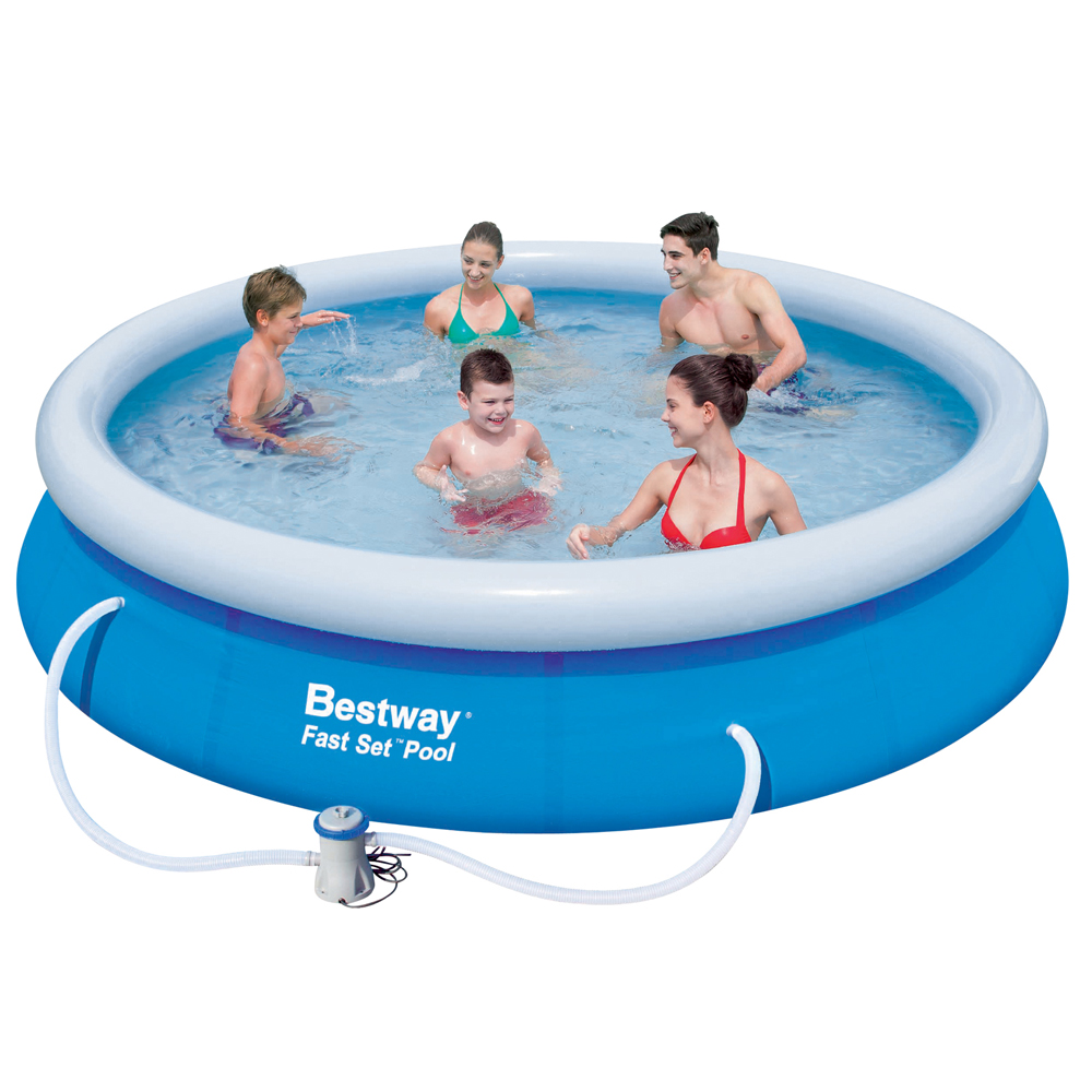 15ft inflatable fast set above ground swimming pool round for Best above ground pool pump