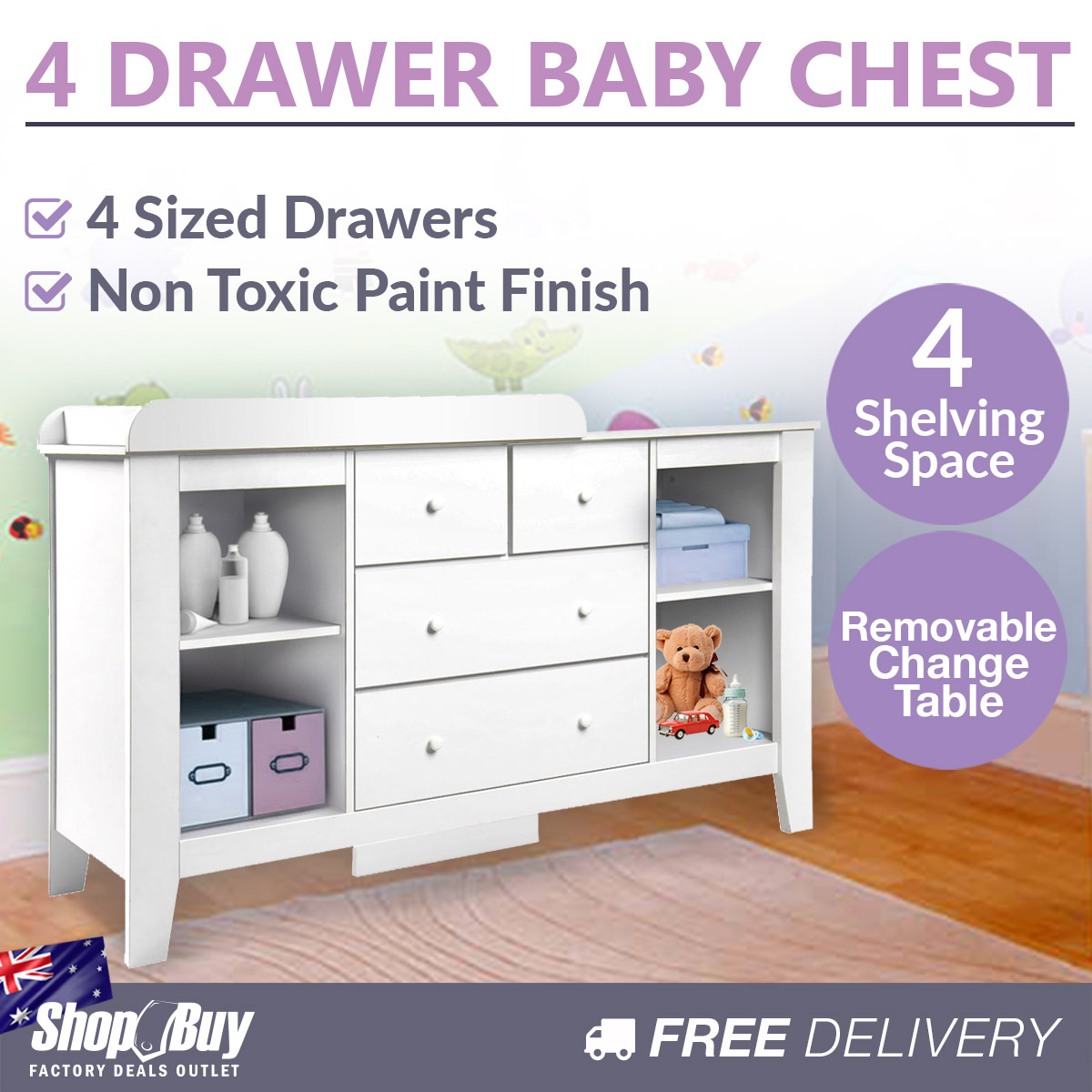 Baby Nursery Change Table Chest Dresser Drawer Cabinet Nappy