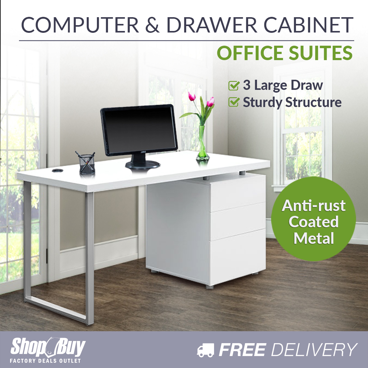 Office Computer Desk Home Study Table 3 Drawer Cabinet Student Kids ...