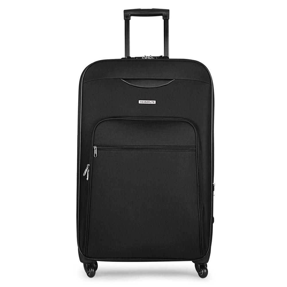 28in Soft Case Luggage 4 Wheels Suitcase Tsa Lock Travel Carry On Bag Black Ebay