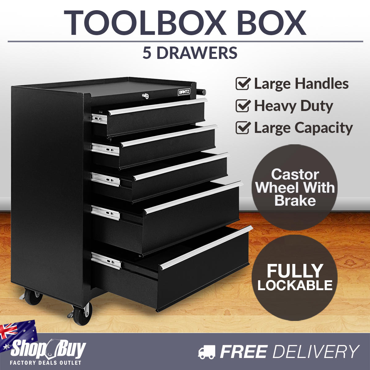 5 drawers toolbox chest cabinet tool box roller trolley. Black Bedroom Furniture Sets. Home Design Ideas