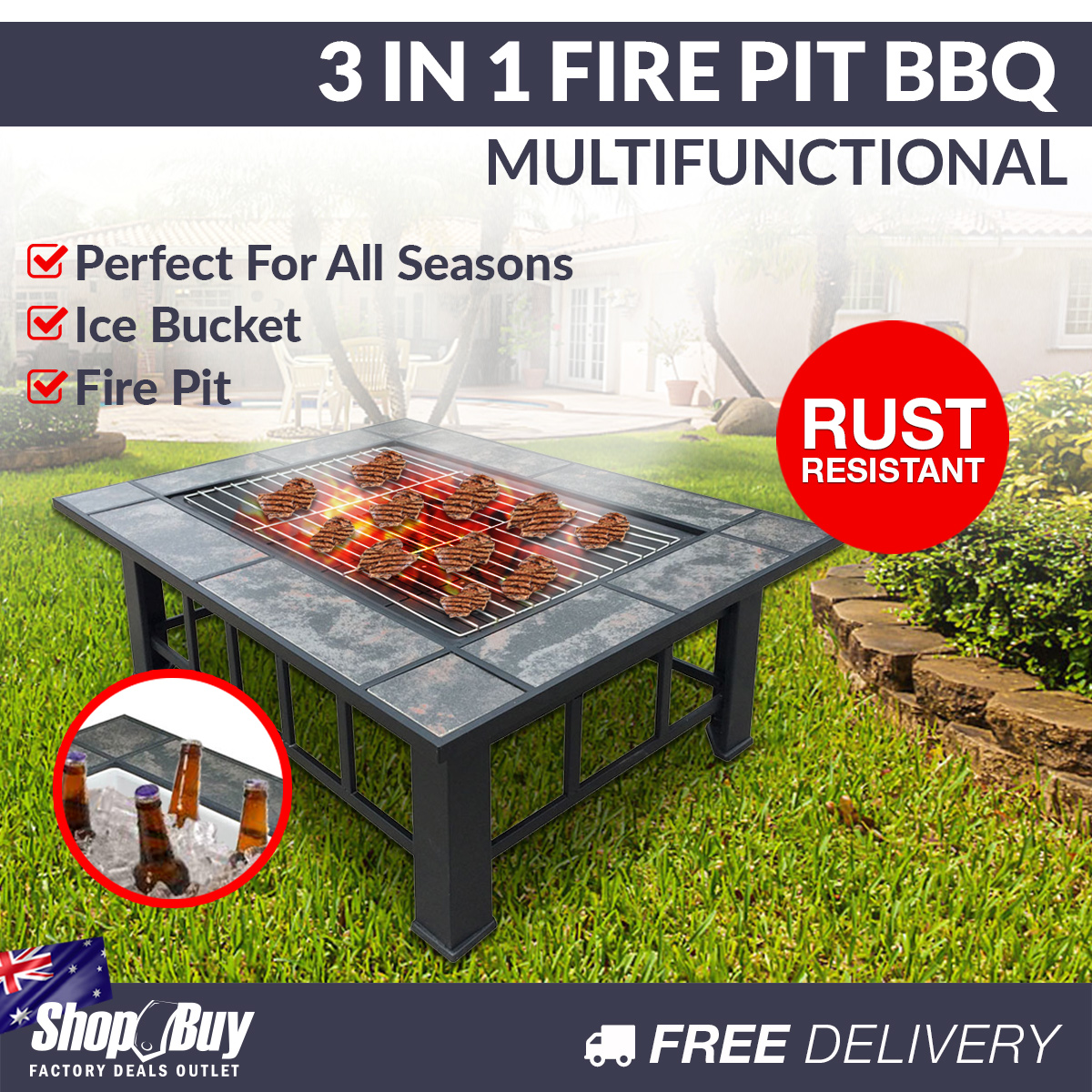 extra large 3 in 1 multifuction outdoor fire pit bbq table grill