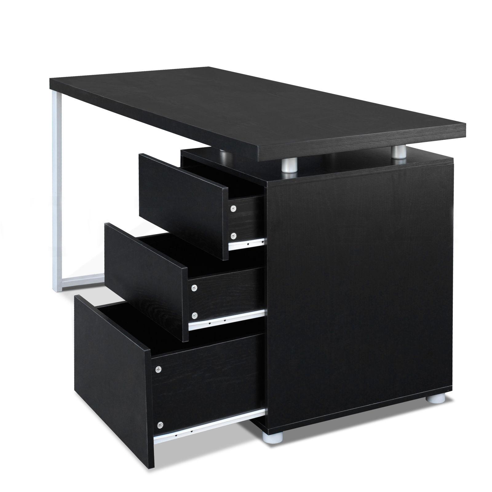 Office Computer Desk Home Study Table 3 Drawer Cabinet Student Kids Desk  Black