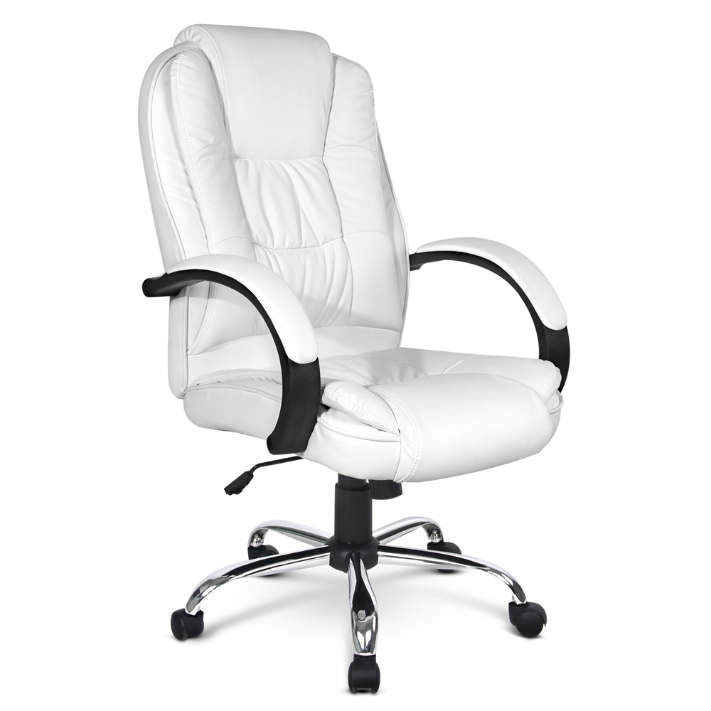 Deluxe PU Leather Computer Chair High Back Headrest Office Desk Chair White
