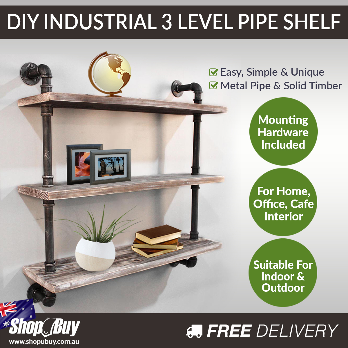 Details About Rustic Industrial Diy Floating Pipe Shelf 3 Tier Shelving Organiser