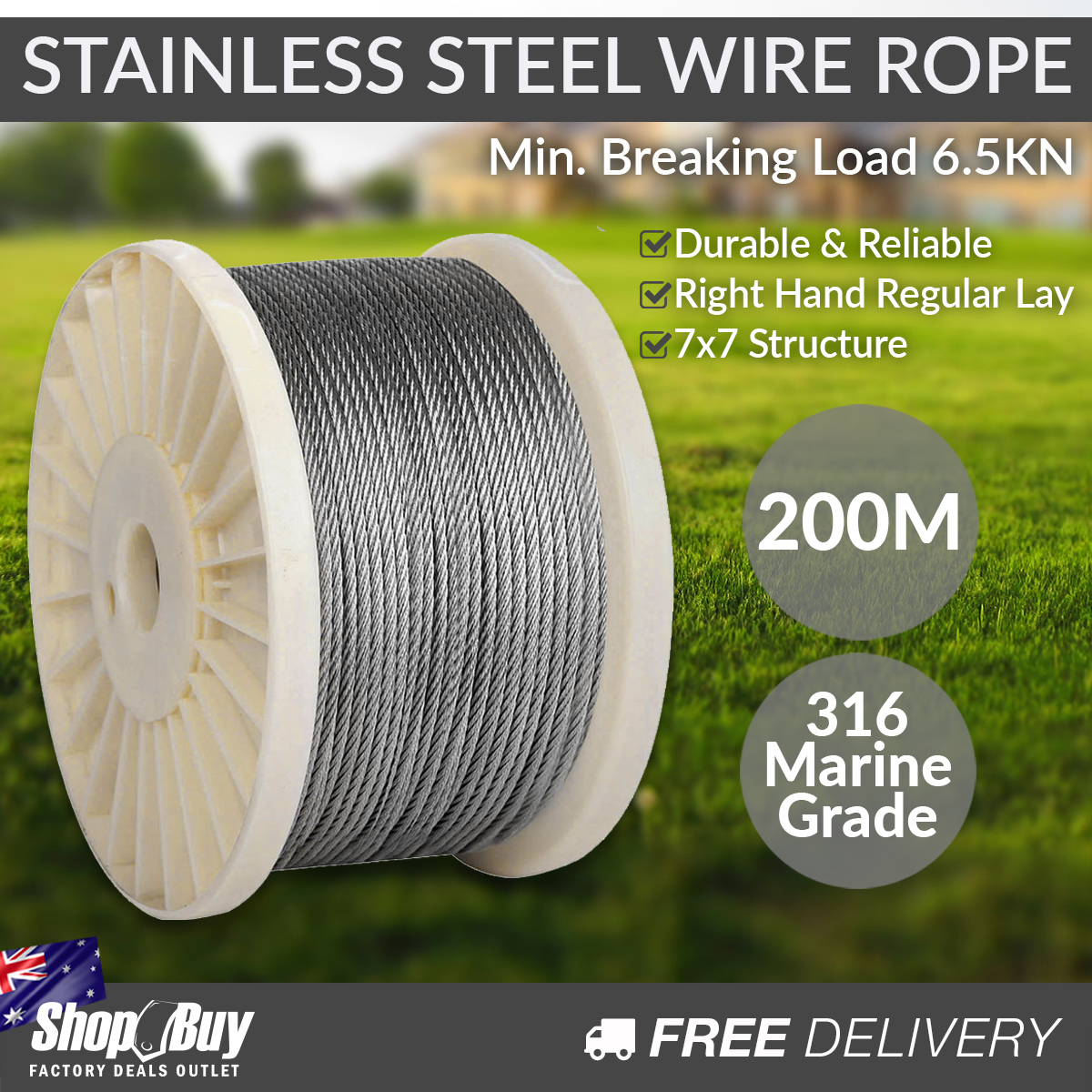 316 Marine Stainless Steel Wire Rope 7x7 Balustrade Decking Fence ...