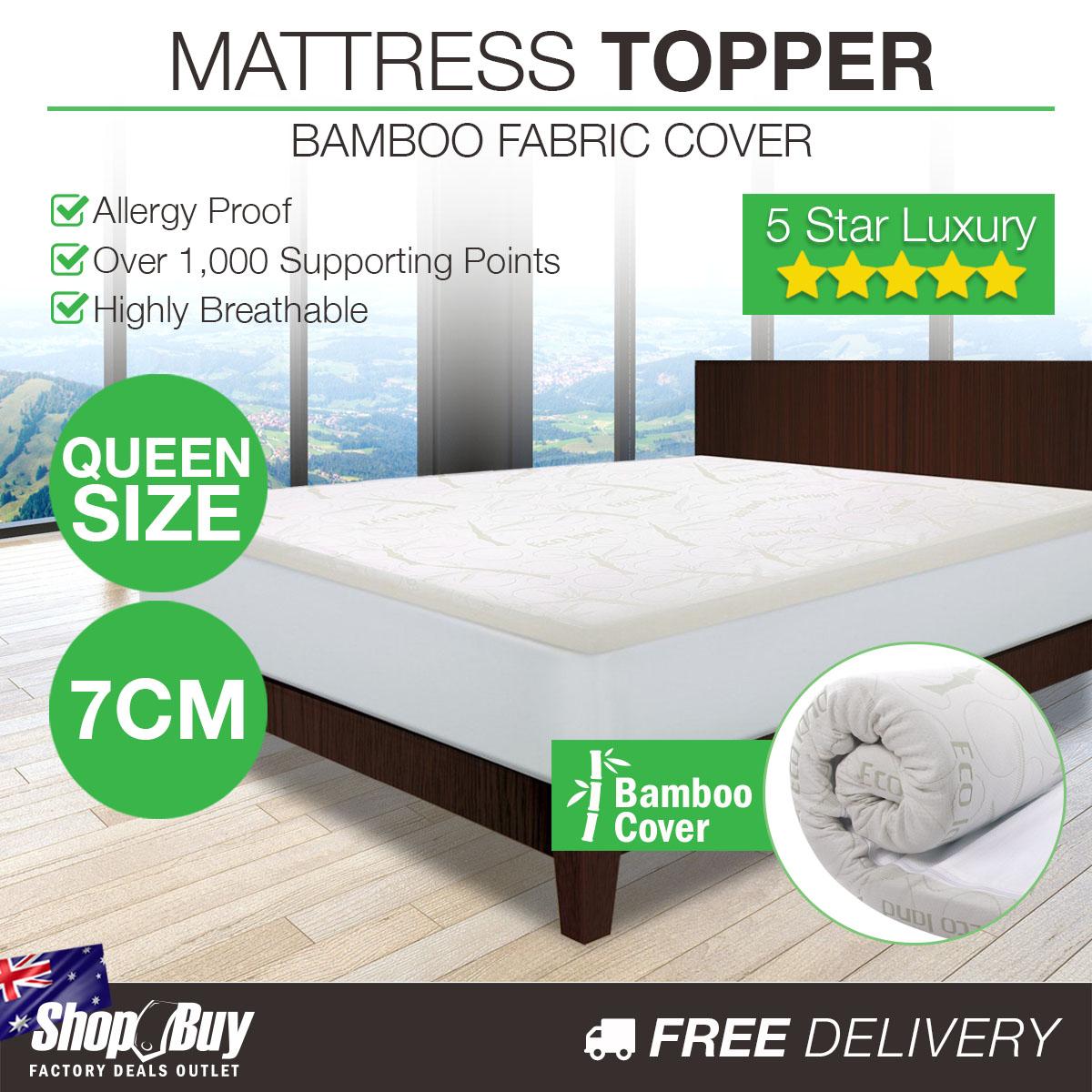 7cm Memory Foam Mattress Topper Eco Friendly Bamboo Fabric