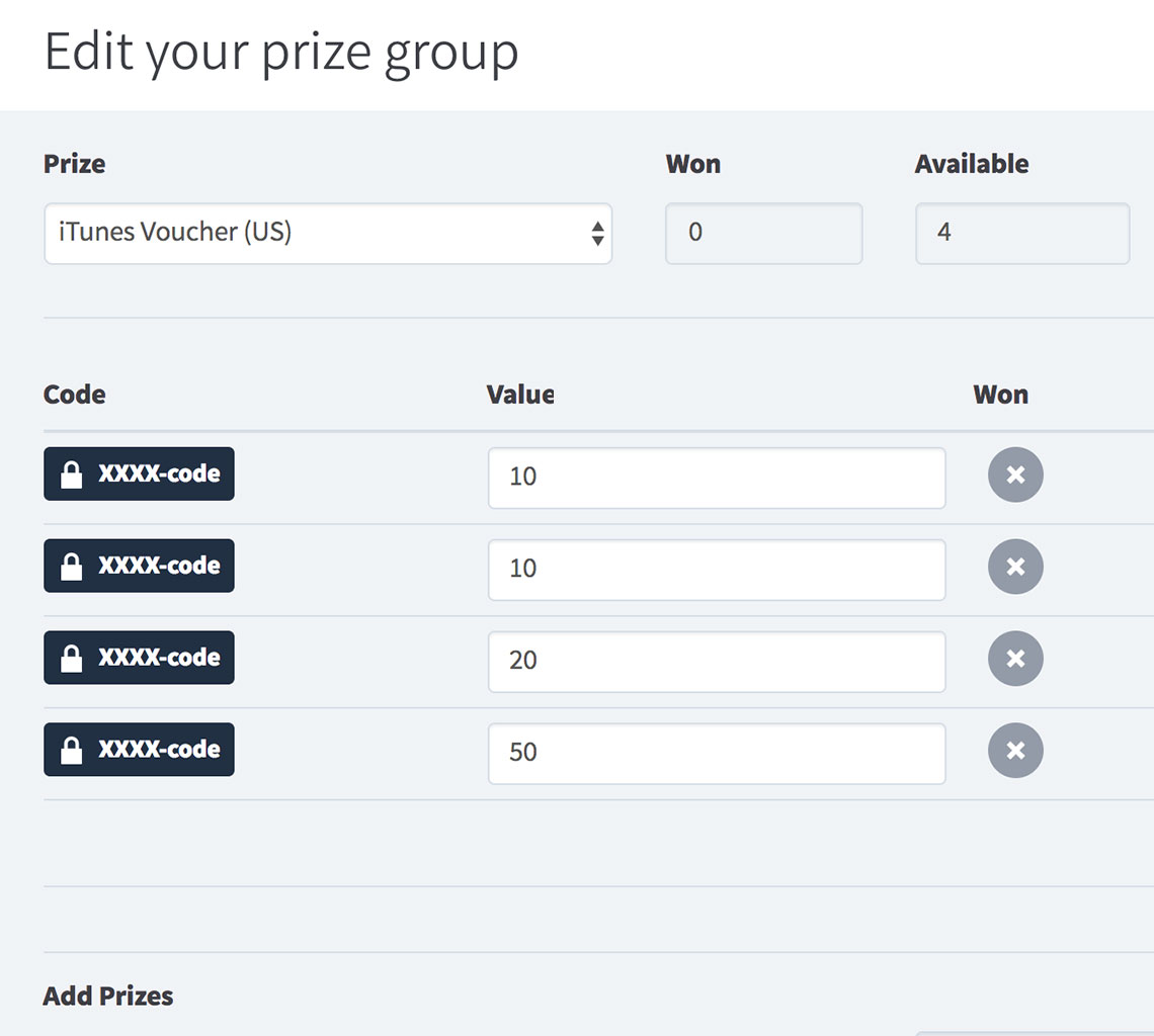 Encrypted prizes