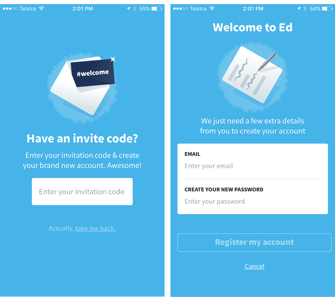 Second set of invite code screens