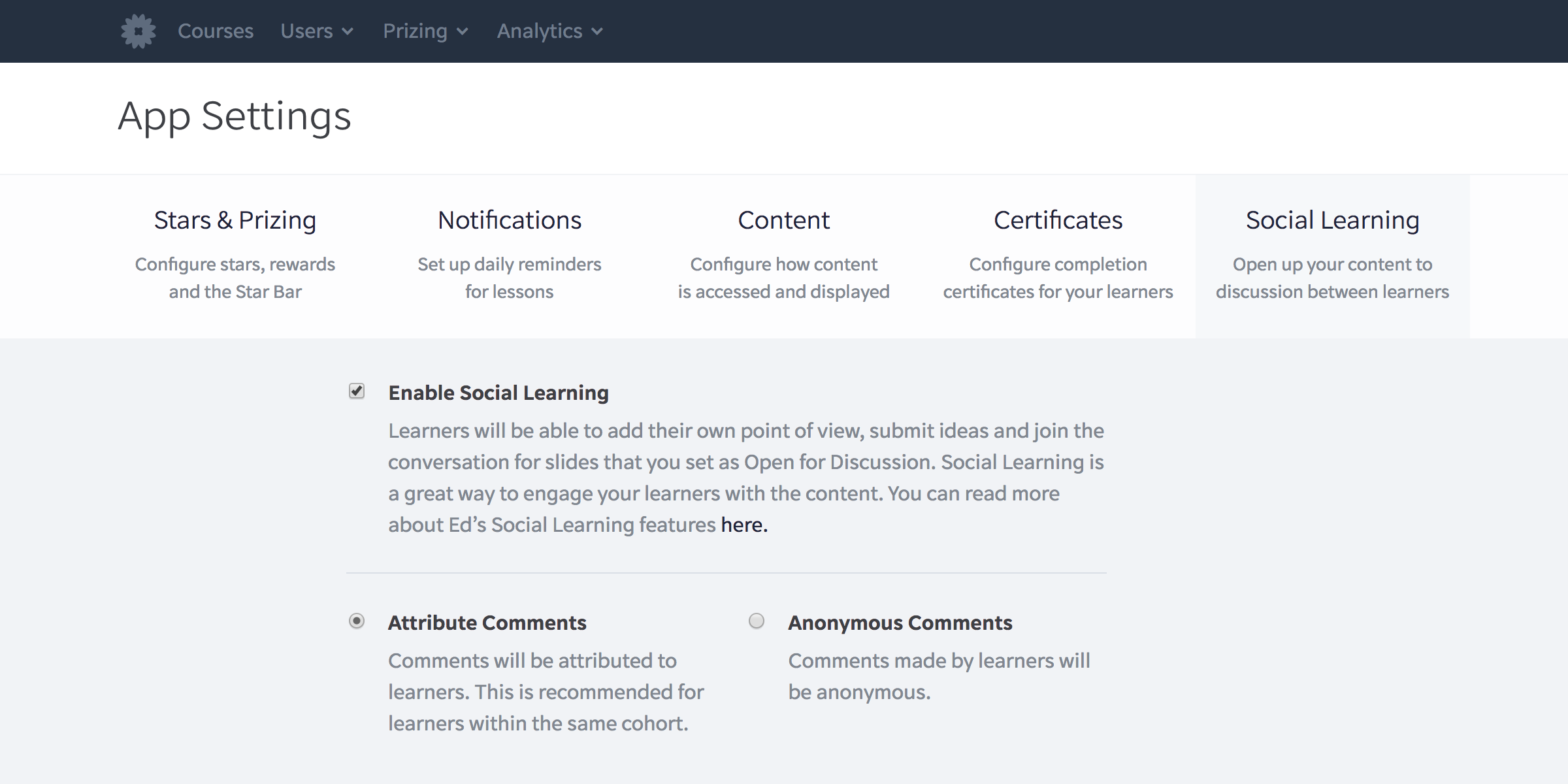Enable Social Learning in your App Settings