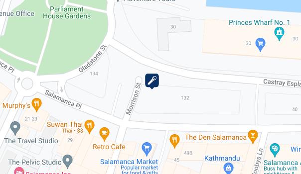 Map showing location of Speakers' Corner in Salamanca plaza