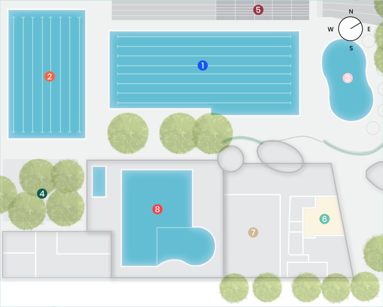 A site map of the Ashfield Aquatic Centre from above