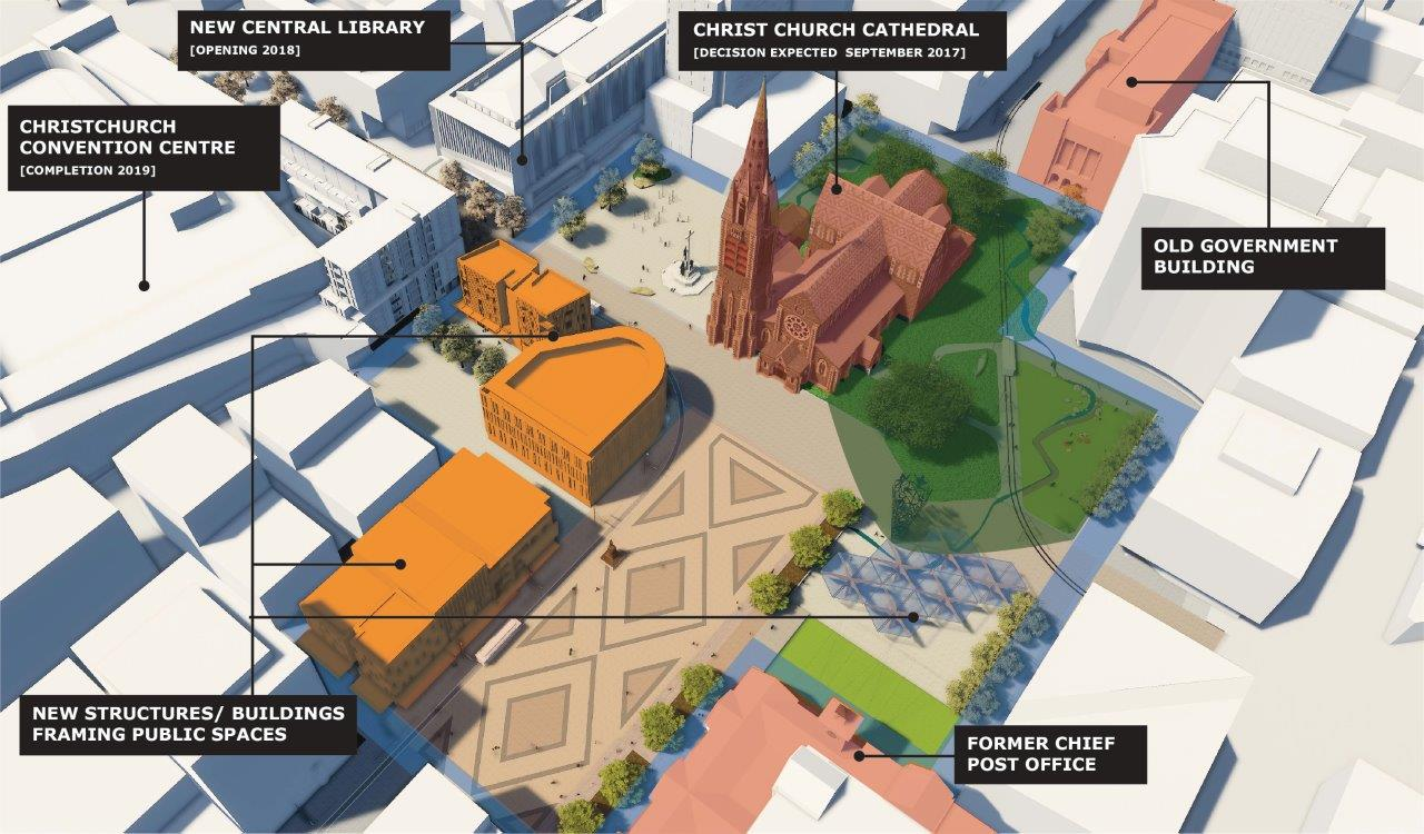 Artist's impression: oblique aerial 3D view of buildings and spaces in Cathedral Square and surrounds.
