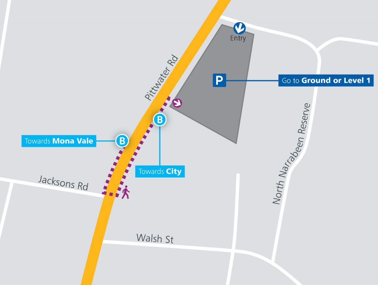 Warriewood Park&Ride Map