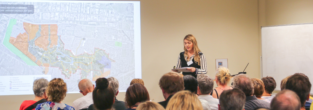 Council staff presenting at Mount Louisa Masterplan Information Session