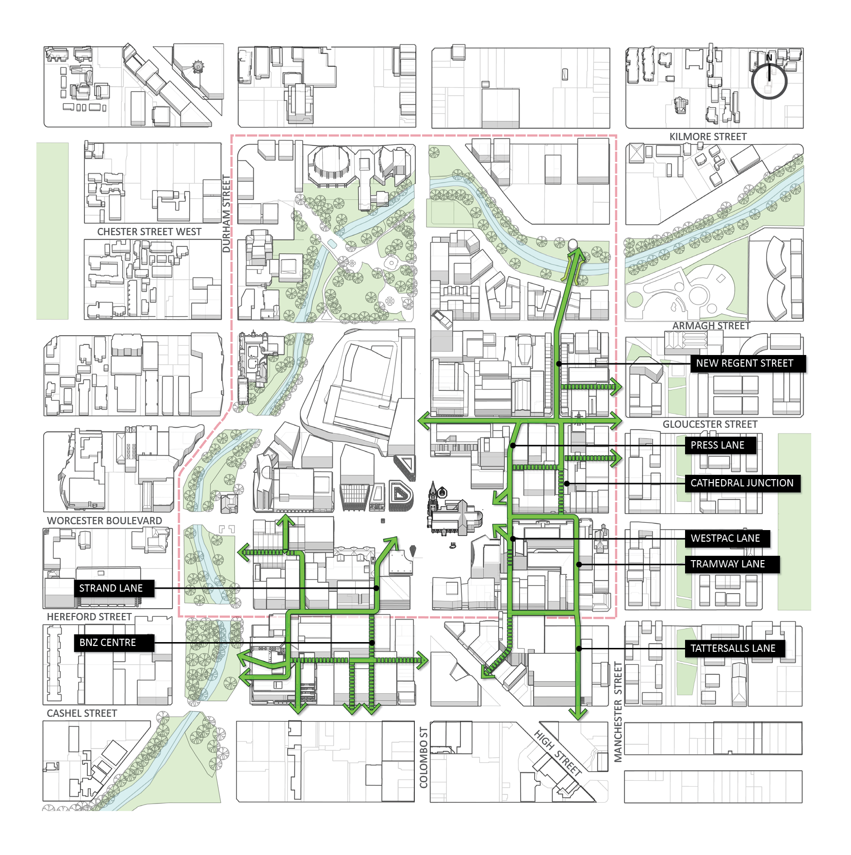 Map diagram of possible upgrades to the streets and lanes in the central city.