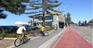 Collaroy precinct with bike racks and b line bus stop