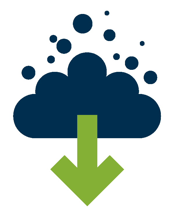 Illustration of a greenhouse gas cloud and downward arrow that indicates action to reduce greenhouse gas emissions.