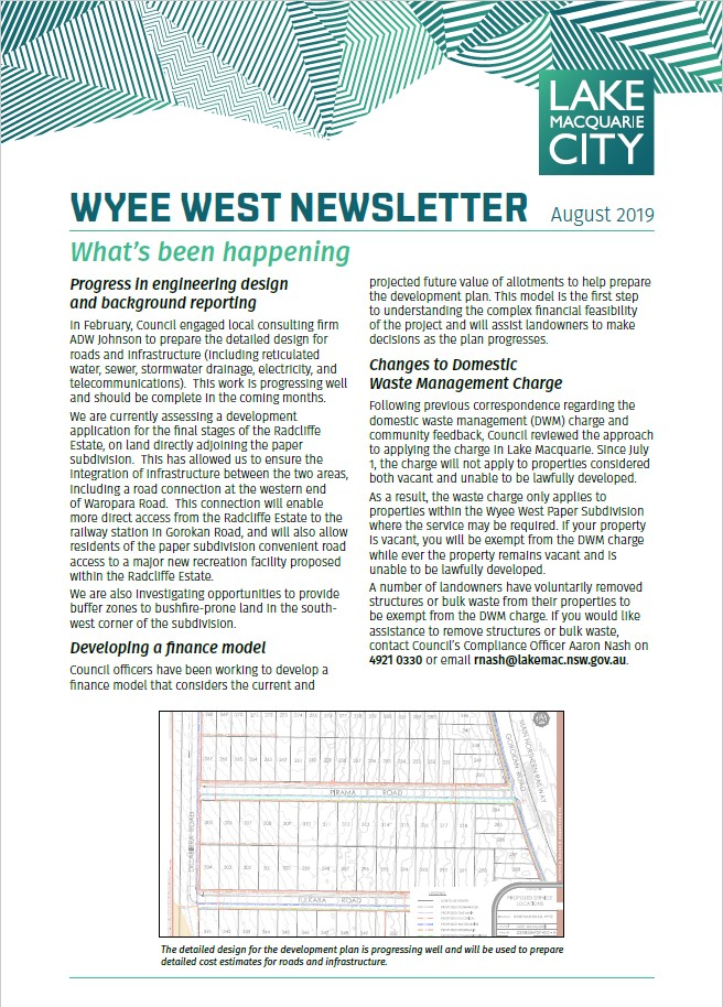 Wyee West Newsletter - August 2019