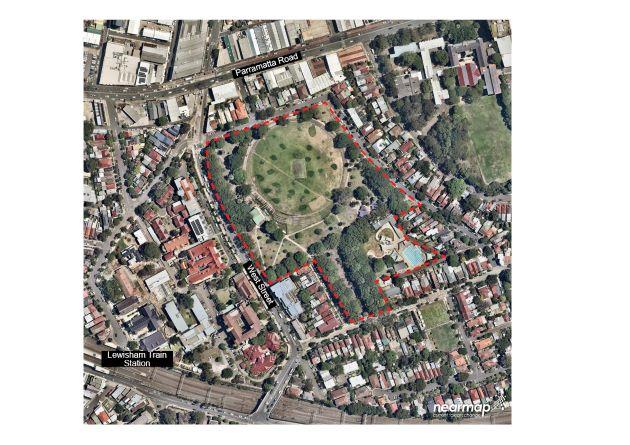 Aerial view park boundary