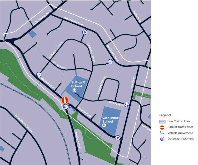 Eastview low traffic area map