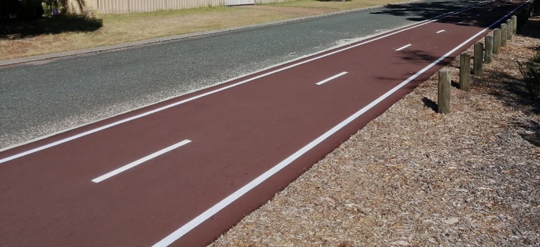 Example of the red asphalt shared path. (Photo of Mack Place, High Wycombe).