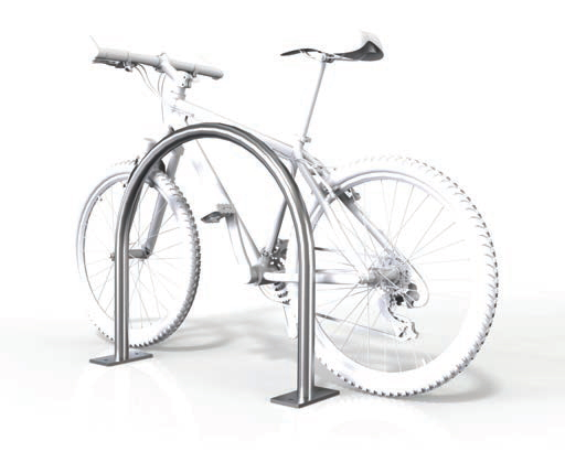 Image shows a drawing of a metal, U-shaped rail attached to the ground with a bike behind it