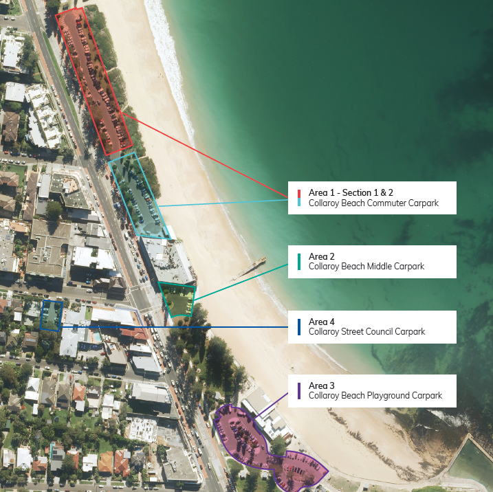 Collaroy beach parking aerial map identifying areas 1 4