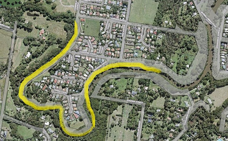 The project rehabilitation area shown in yellow of the the 1.8km reach of the Brunswick River bank from the Mullumbimby Showground, downstream to the eastern end of Riverside Drive, Mullumbimby.