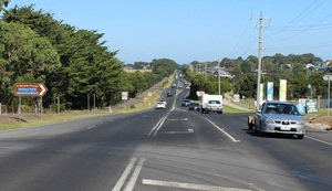 Cars travelling on phillip island road