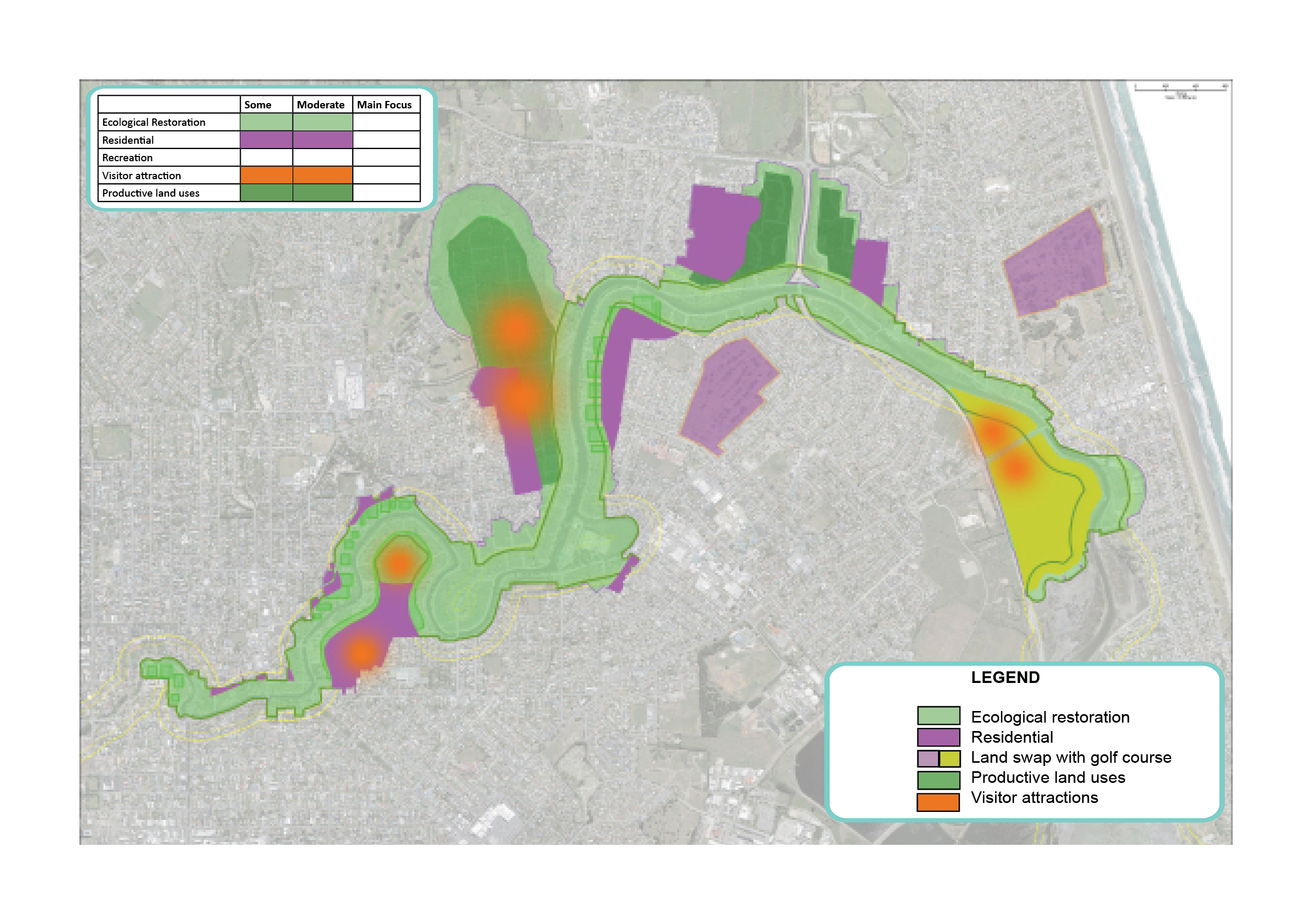Map showing potential areas for productive land uses, residential, visitor attraction and ecological restoration in Ōtākaro Avon River Corridor Regeneration Area.