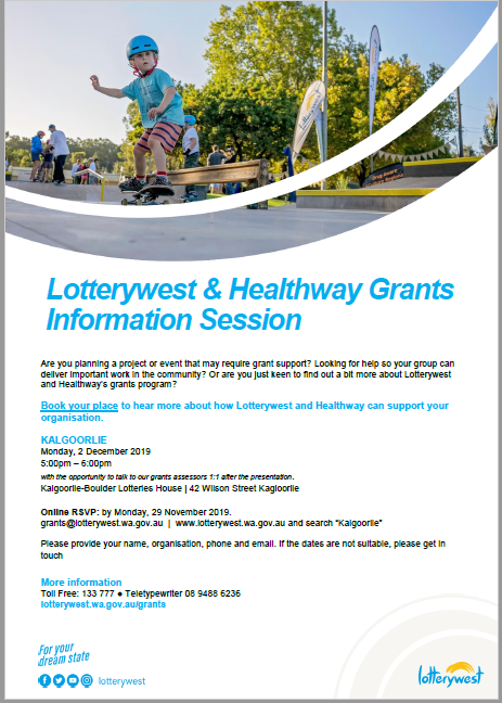Lotterywest   healthway   grants information session
