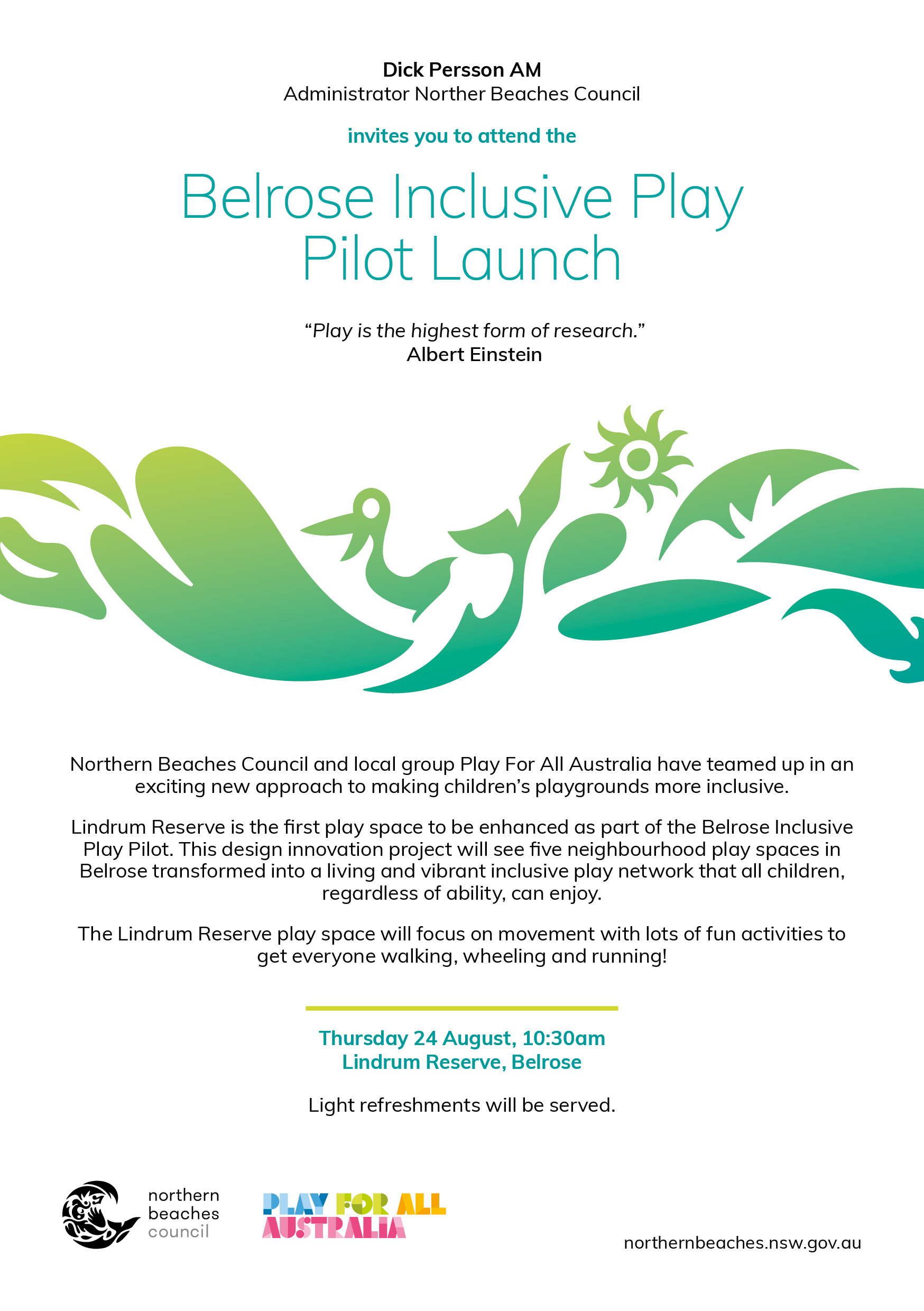 Belrose inclusive play  pilot launch invitation