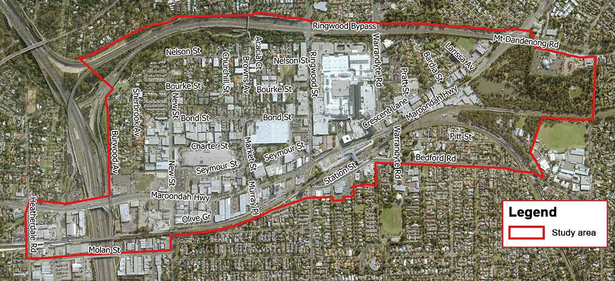 The RMAC boundary as per the draft Draft Ringwood MAC Masterplan 2018