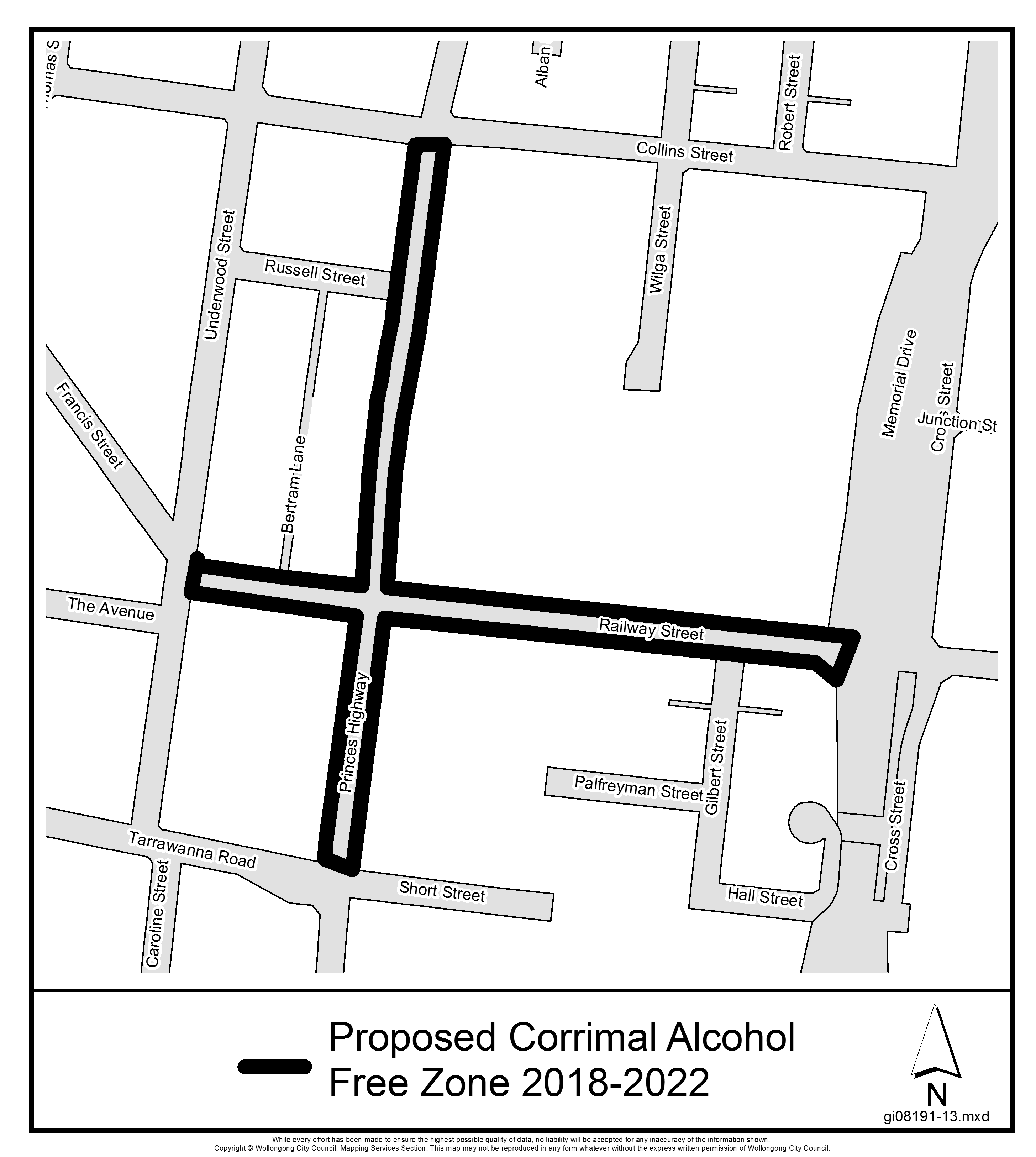 Proposed corrimal alcohol free zone 2018 2022
