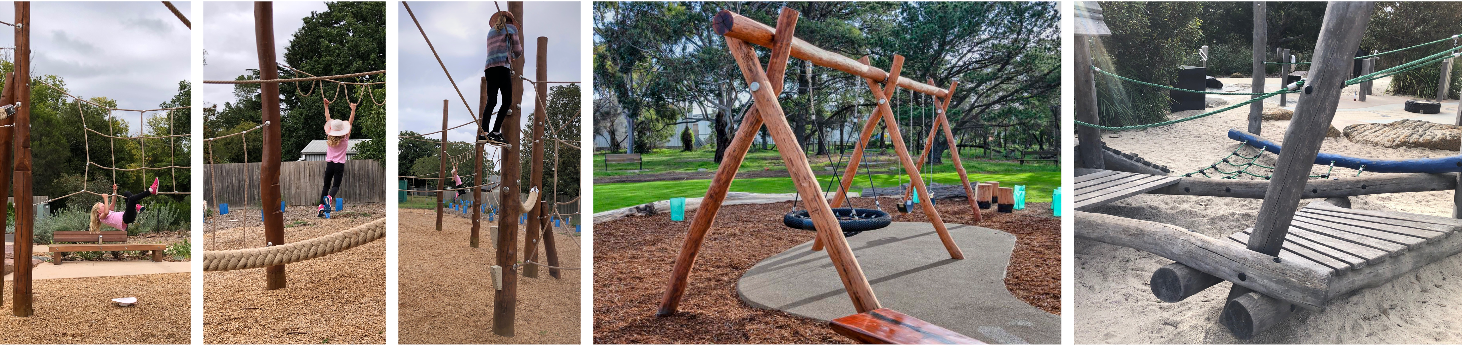 Five images of wooden climbing and swinging play equipment