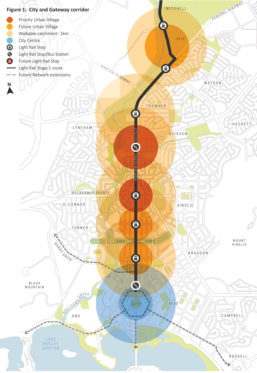 City and Gateway corridor map. It shows Priority Urban Villages, Future Urban Villages, Walkable catchments, Capital Metrol Light Rail Stops and Bus Stations, Future Light Rail Stops, and the mains and possible light rail routes.