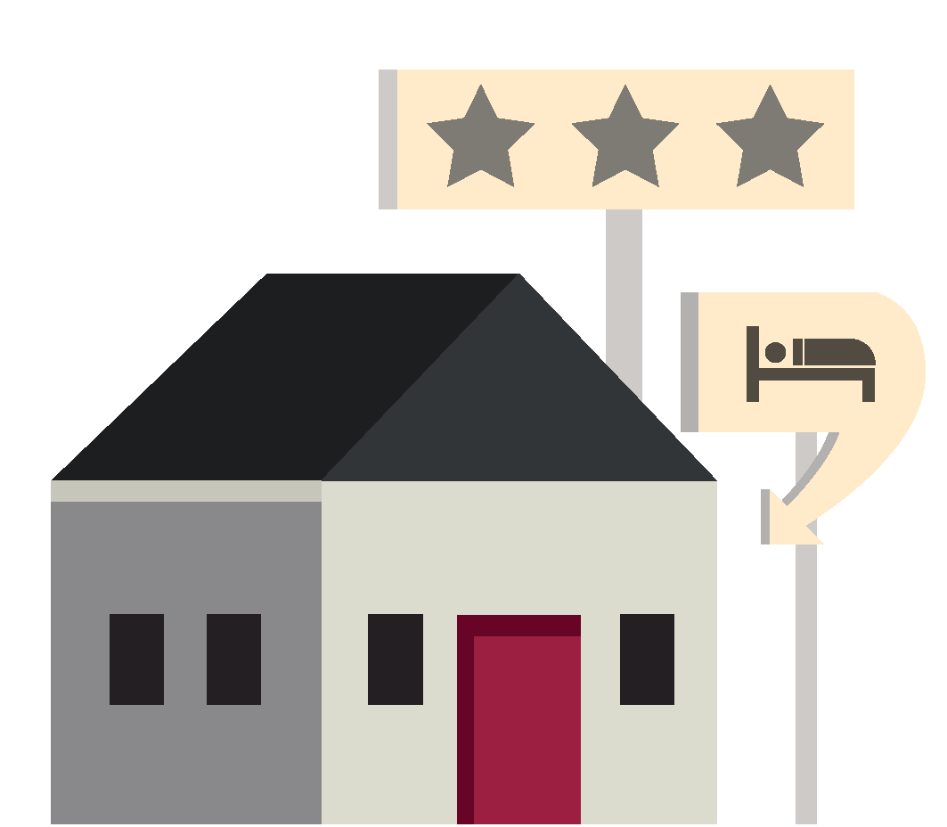 Illustration of a building used for accommodation with a three-star rating.