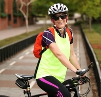 Subiaco   roberts road   cyclist bike riding  woman yellow top   april 2014   copy
