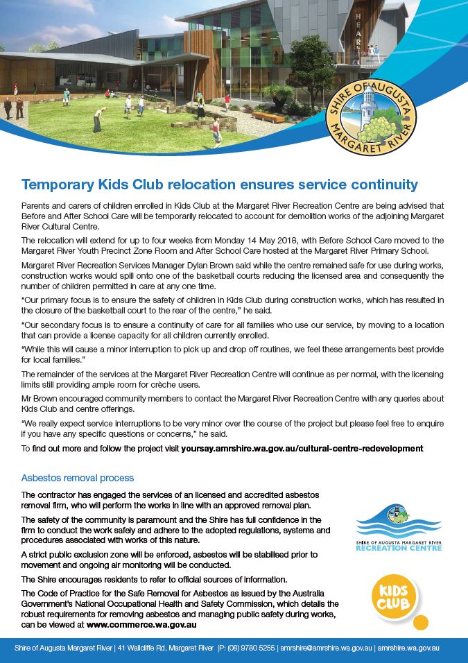 Kids club relocation asbestos