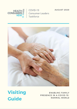 Front cover of Vising Guide showing a younger hand holder the hands of an older person who is resting in a hospital bed.