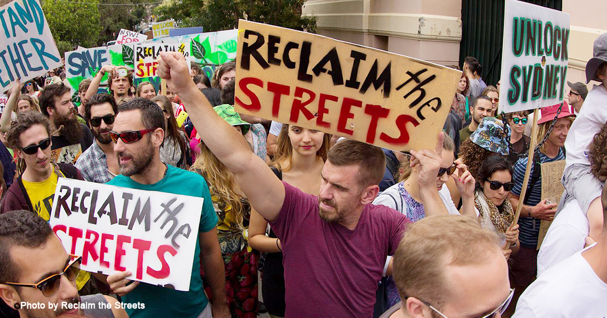 Protesters at Reclaim the Streets march