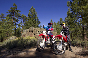 Two trail bikes off road
