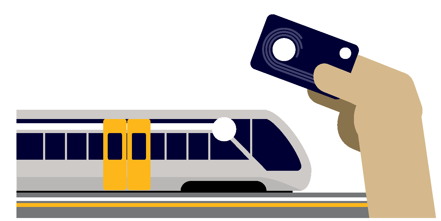 Illustration of a train and a HOP card. 2. 2. Illustration of a bus and a person riding a bicycle.