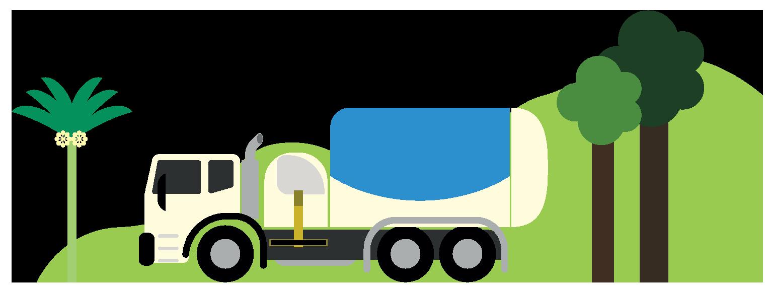 Illustration of a sewage drainage truck.