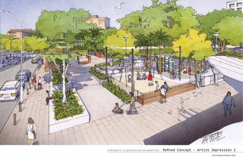 The final design of the new Fitzroy Gardens Playground