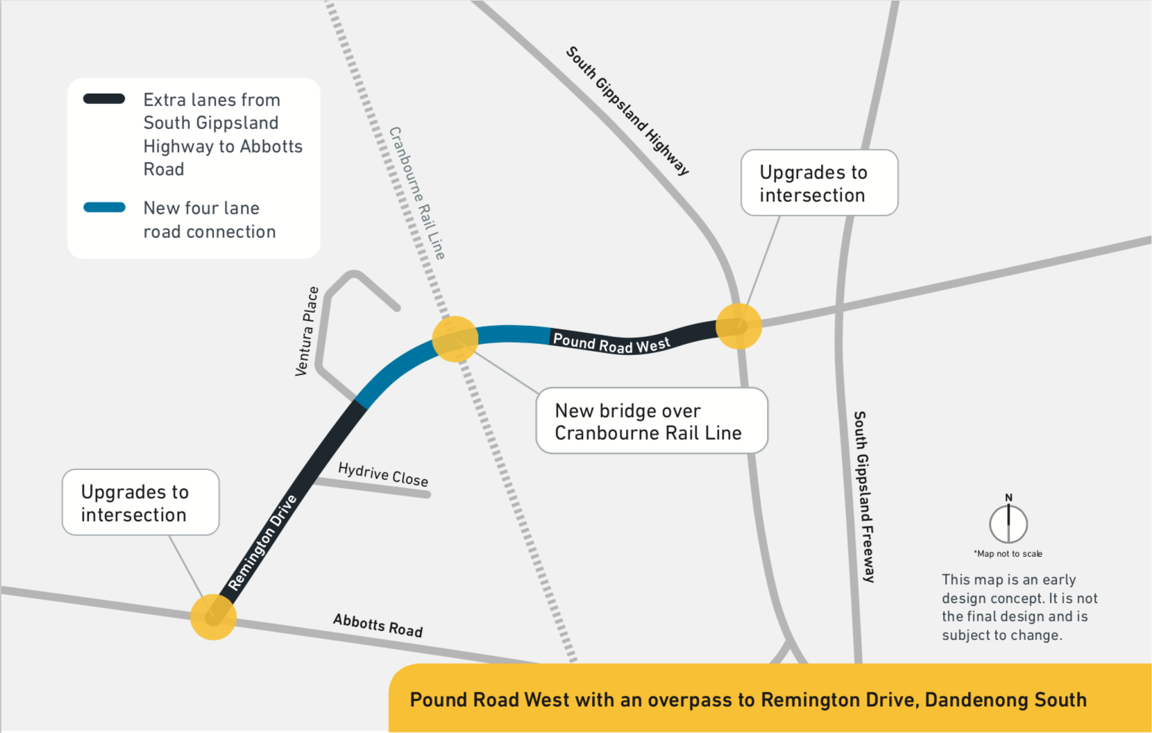 As part of the upgrade, we plan to: build a new bridge over the Cranbourne train line to connect Pound Road West and Remington Drive add an extra lane each direction between Abbotts Road and South Gippsland Highway upgrade the existing intersections at Abbotts Road and South Gippsland Highway add safety barriers along the road.