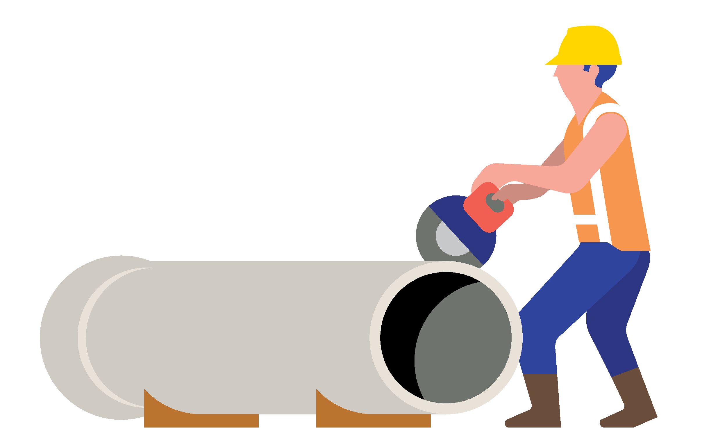 Illustration of a construction worker cutting a pipe with a circular saw.