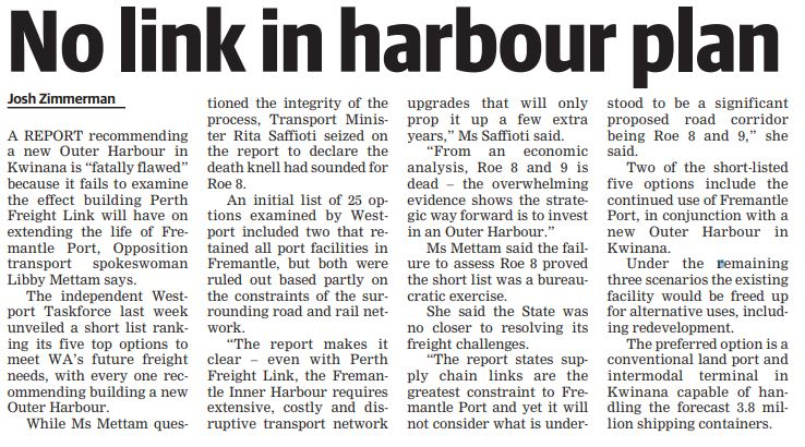 20190822 cockburn gazette   no link in harbour plan